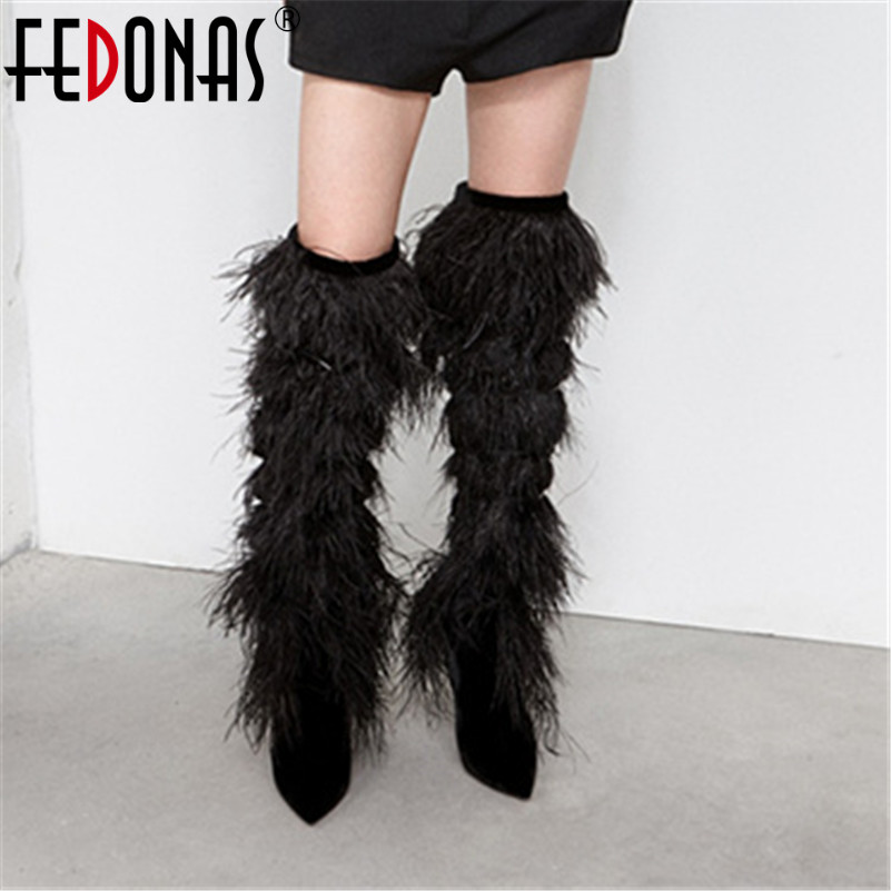 FEDONAS Sexy Women Over The Knee High Boots Thin High Heels Pointed Toe Party Wedding Shoes Woman Fringe Prom Pumps High BootsFEDONAS Sexy Women Over The Knee High Boots Thin High Heels Pointed Toe Party Wedding Shoes Woman Fringe Prom Pumps High Boots