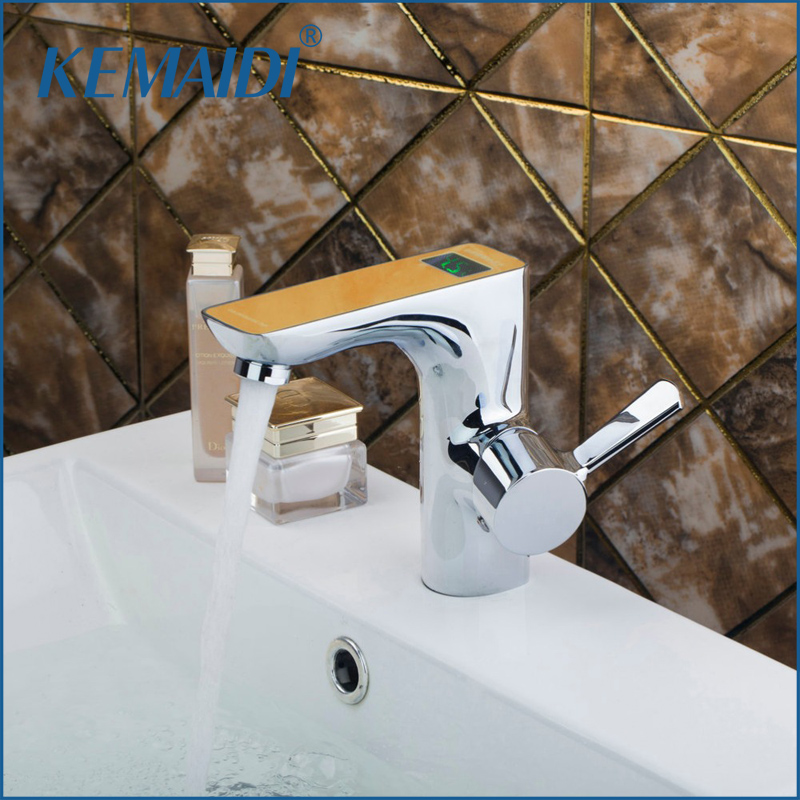 KEMAIDI High Quality Brass Digital Display Number Basin Tap Bathroom Faucet torneira banheiro Hot and Cold Water Mixer bathroom brass water automatically sense faucet basin mixer hot and cold tap modern design high quality