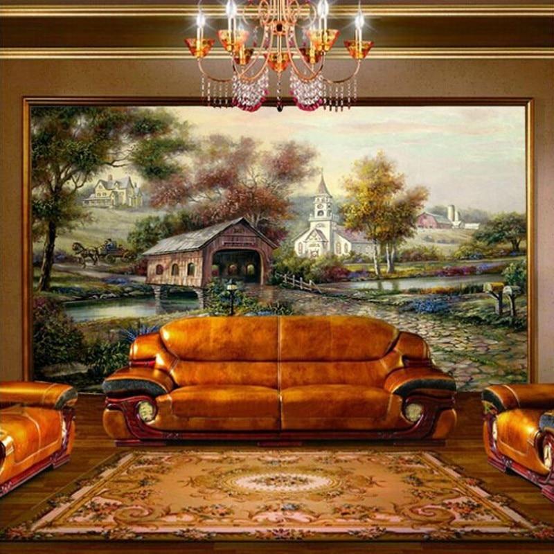 3d stereoscopic Europa seamless living room wallpaper s