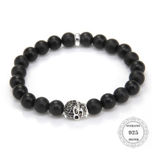 HEMISTON 925 Sterling Silver Matted Black Obsidian & Skull Beads Bracelets, 14-24CM, Fine Jewelry Gift for Women and Men TS 024 цена