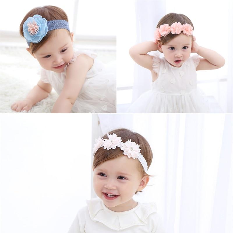 M MISM Otroški novorojenček Šifon velik cvetlični trakovi - Oblačilni dodatki