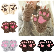 Winter Lovely Women Bear Cat Claw Paw Mitten Plush Gloves 2018 Short Finger Half Gloves Ladies Half Cover Female Gloves