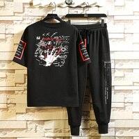 Summer Men's T shirt Tracksuit New Fashion Casual Male Cotton Short Sleeve+ Pant Sets Men Brand T Shirt Set Hip Hop