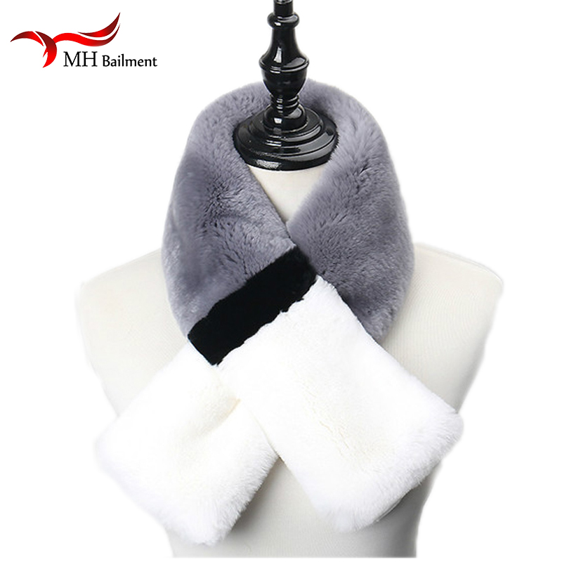 2018 arrivée écharpes pour femmes Rex lapin fourrure écharpe Double pompon femmes fourrure silencieux thermique hiver écharpe manteau femme hiver