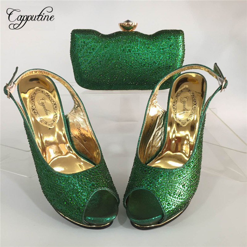 Capputine African Style Rhinestone Woman Shoes And Bag Set For Party Nigeria High Heels Shoes And Bag Set Wedding Party BL665C