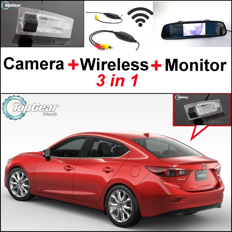 ФОТО 3 in1 Special Rear View Camera + Wireless Receiver + Mirror Monitor DIY Parking System For Mazda 3 Mazda3 Sedan 2013~2015