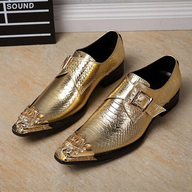 35e601171c Christia Bella Genuine Leather Men Shoes Italian Formal Shoes Gold Dress  Shoes Men Wedding Business Oxfords Men Monk Strap Shoes