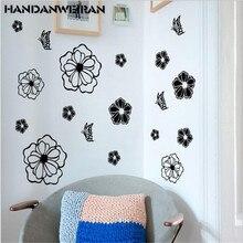 цена на 2019 DIY kitchen stickers wall decor Flowers family art Animal butterfly wall stickers for black 30*30cm hot sale HANDAN WEIRAN