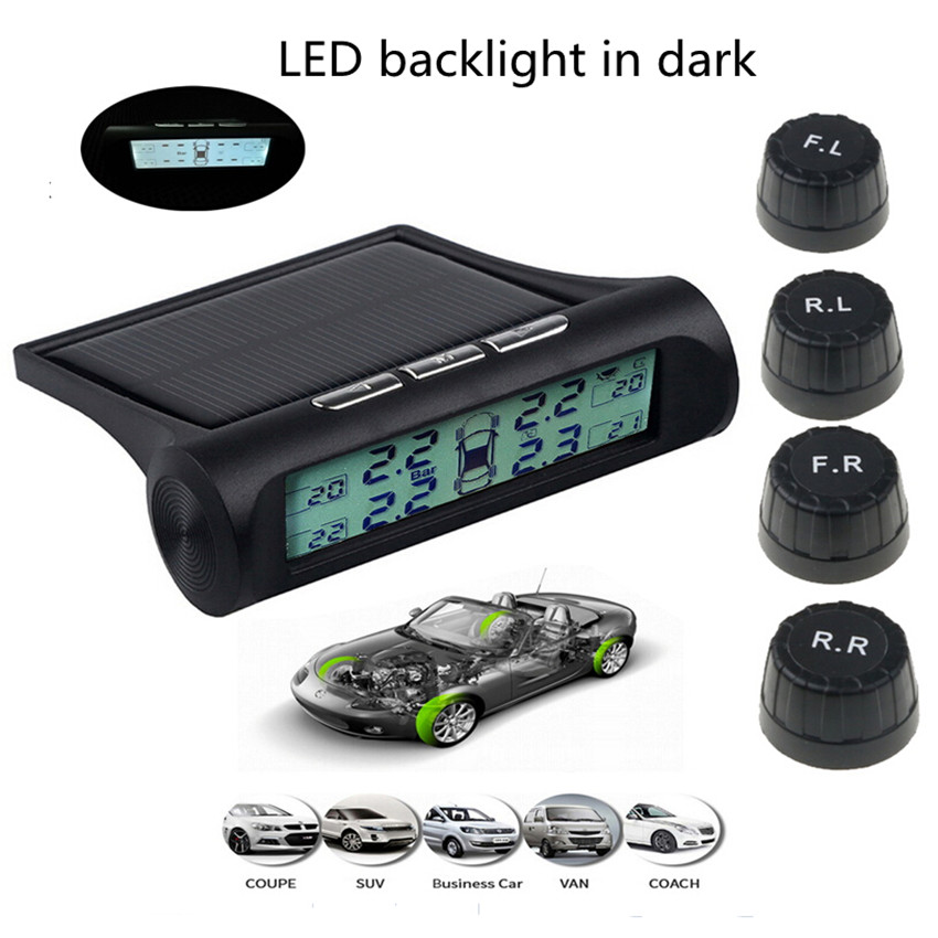 Led Backlight Tire Pressure Alarm Monitor TPMS Car Tire Pressure Monitoring System Digital Display Tyre Solar Energy Power USB