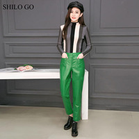 SHILO GO Leather Pants Womens Spring Fashion sheepskin genuine leather Pant concise high waist loose green pencil pants
