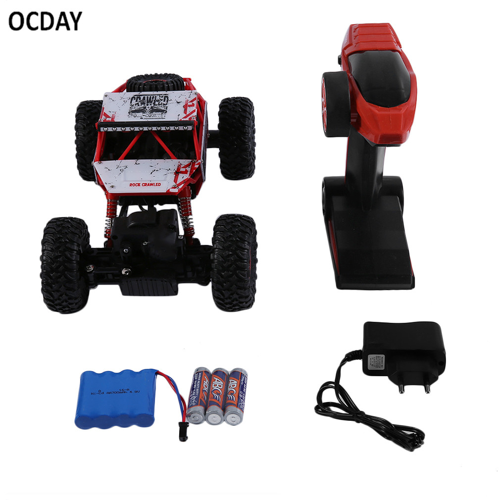 OCDAY 4WD Rock Crawlers Driving Car Drive Bigfoot Car Remote Control Car Model Off-Road Vehicle Toy battery Shock Resistant Hot!