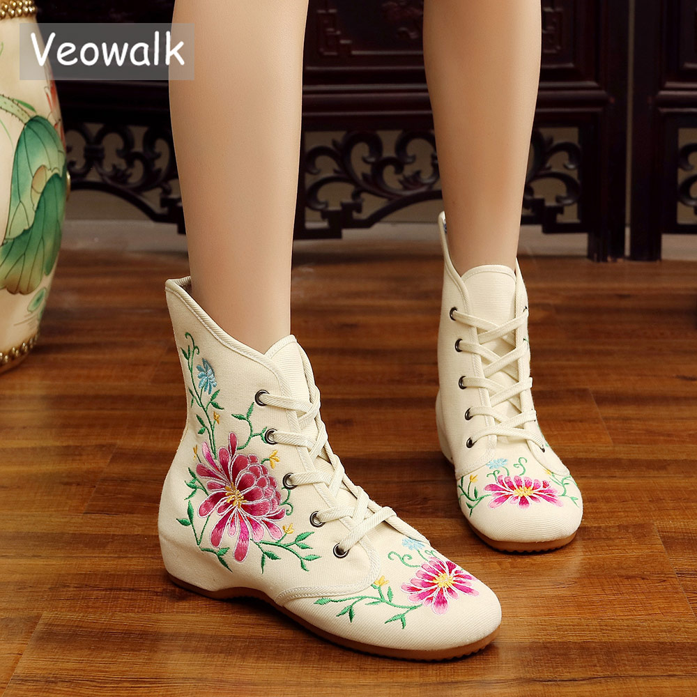 Veowalk Chinese Embroidered Women Casual Cotton Short Ankle Boots Lace up Ladies Comfortable Canvas Autumn Shoes boats mujer