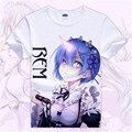 Re:Zero kara Hajimeru Isekai Seikatsu T-shirt Anime Emilia Rem Cosplay T Shirt Cartoon Student Tops Tees