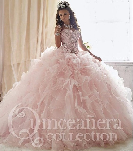 Princess Light Pink Lace Wedding Dress With Off The: Sparkle Light Pink Quinceanera Dresses 2016 Sweetheart