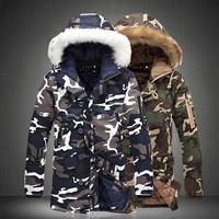 New Hot Men Camouflage Hooded Coats Camo Casual Parkas Outerwear Faux Fur Collar Warm Jacket YAA99