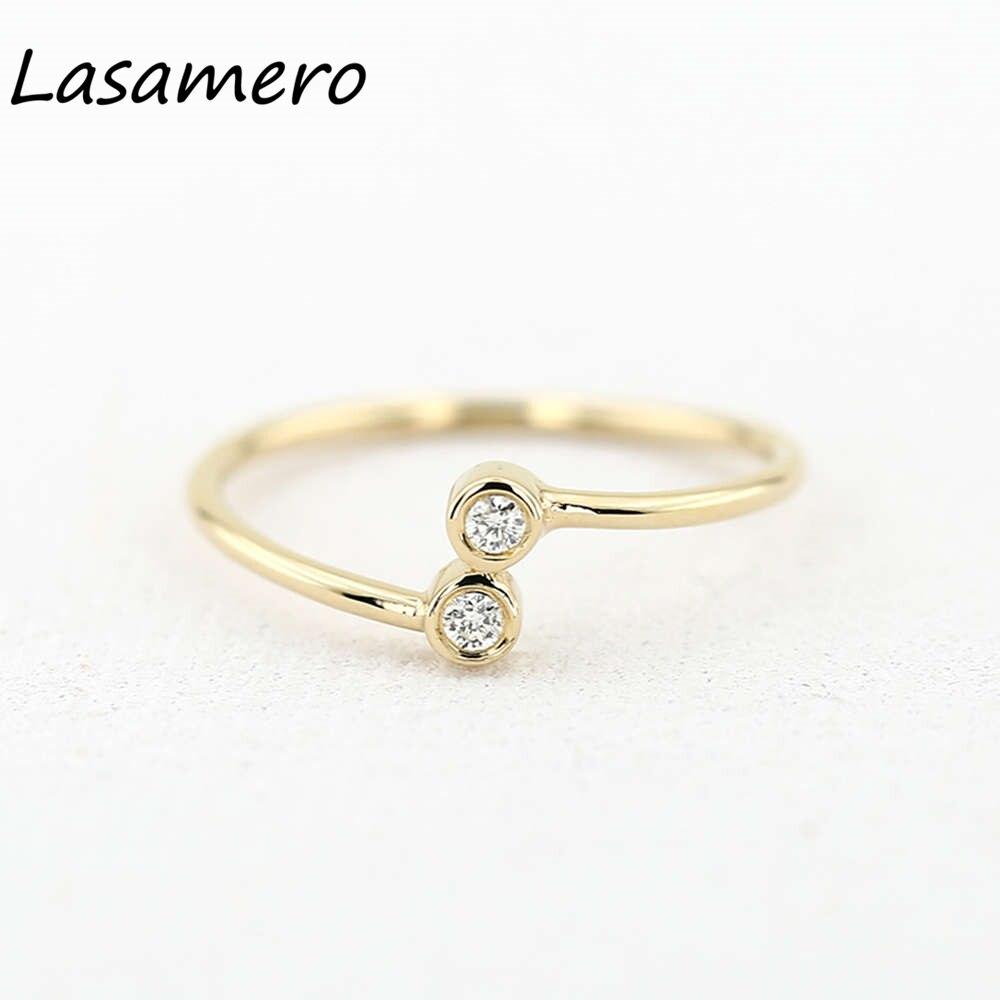 LASAMERO круглой огранки 0.06CTW природных алмазов 14 К желтого золота обхода два камни  ...