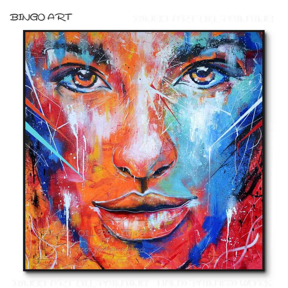 Peintre professionnel peint à la main de haute qualité abstraite dame visage peinture à l'huile sur toile beauté couleur dame Figure peinture à l'huile