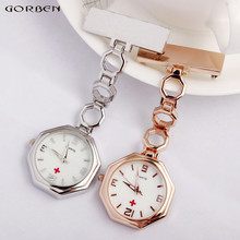 New Luxurious Crystal Clip-on Fob Girls Nurse Pin Quartz Watch Brooch Octagon Dial Hanging Full Metal Luminous 2 colours accessible