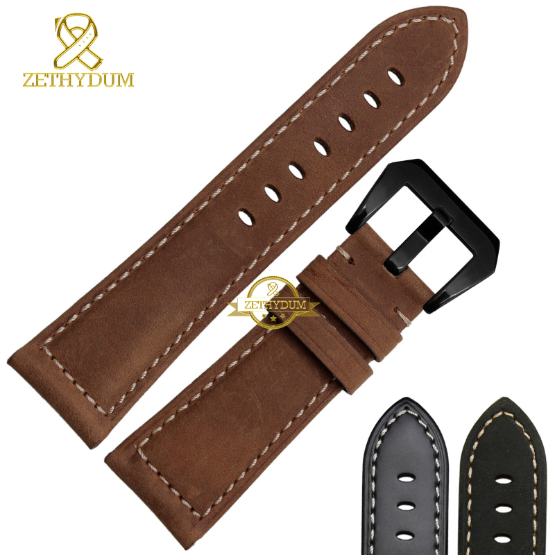 Handmade Genuine leather bracelet  watch strap watchband mens wristwatches band retro Style Nubuck 22mm 24mm 26mm accessories 20mm 22mm 24mm 26mm khaki genuine leather watchband retro type watchband suitable for pam watches and rough watch free shipng