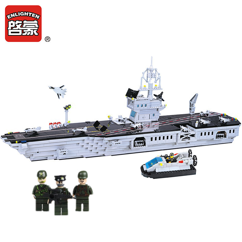 Enlighten 1000Pcs Military Navy Aircraft-Carrier Building Blocks Sets Model DIY Bricks Jigsaw Educational Toys for Children sluban 883pcs military series army navy warship model building blocks cruiser plane carrier bricks gift toys for children