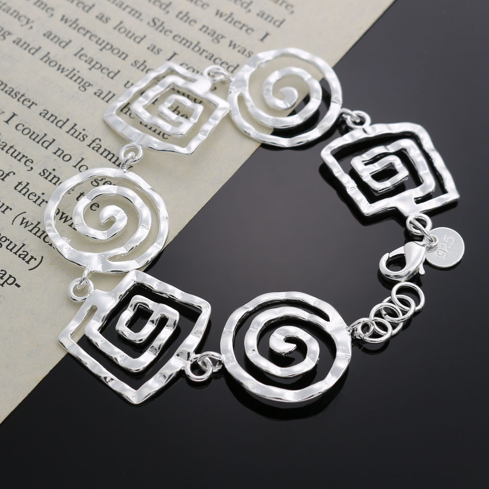 Hot sale cute Beautiful fashion silver plated women round Bracelet high quality classic jewelry H324 wholesale Christmas gift