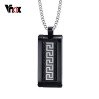Greek Key Pattern Pendant Necklace With Free 24 Chain VNOX Surgical Steel Black Men Necklace Jewelry