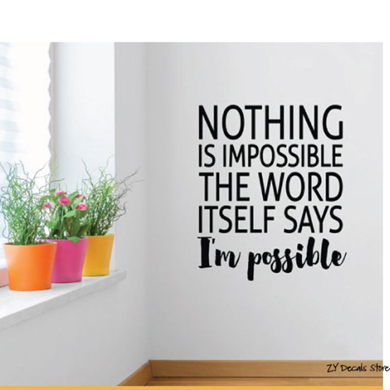 Nothing is Impossible Quotes Wall Decals Inspirational positive Quotes Vinyl Wall Sticker For Office Room Removable Decor L530