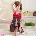Mujeres Sexy de Encaje Negro Interior Dress + G-string Tangas Ropa de Dormir Babydoll ZU98