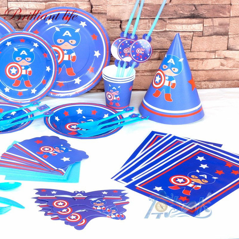 65pcs/lot Captain America Theme Wedding Engagement Paper Cup Plate Napkin Blowout Boy Birthday Party Gift Bag Tablecover Supply