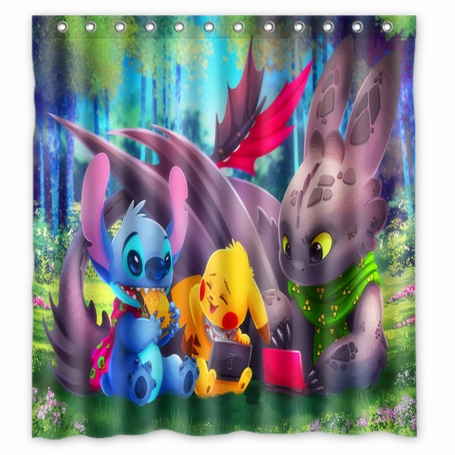 Anime Shower Curtain One Piece Dragon Ball Z Bleach Fairy Tail Naruto Together Pokemon