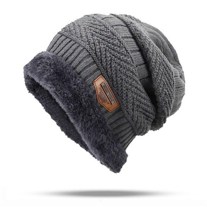 2019 JH Thick and warm and Bonnet Soft Knitted Beanies women men Cotton Ball black brown Cap Skullies Beanies men winter hats