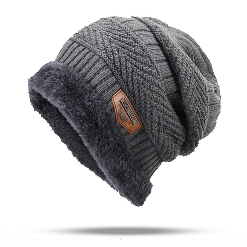 2019 JH Thick and warm and Bonnet Soft Knitted   Beanies   women men Cotton Ball black brown Cap   Skullies     Beanies   men winter hats