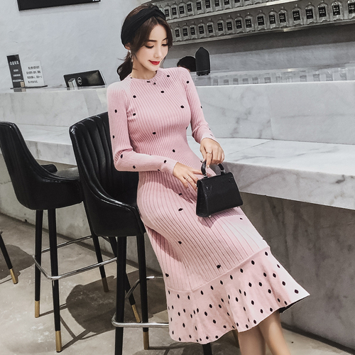 cf522ecfe04 2018 autumn Winter New fashion Korean Women Polka Dot Long Sweater Pullover  Over the Knee Knitted