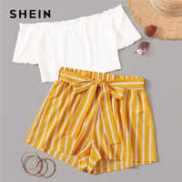 SHEIN Off Shoulder Rib-Knit Crop Top and Self Belted Striped Shorts Set 2 Piece Set Women Summer Boho Wide Leg Two Piece Set