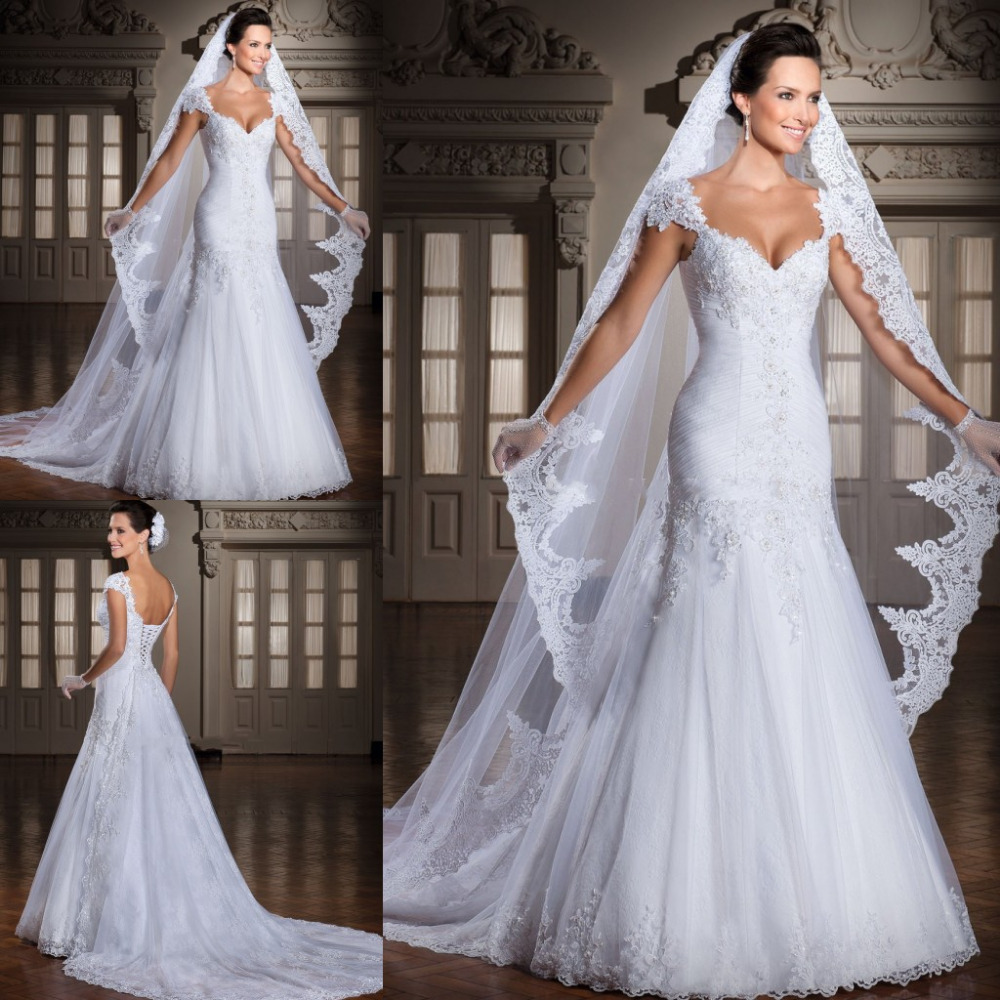 Custom Made 2019 Vestido De Noivas New Design Backless Appliques Lace Up Back Bridal Gown Wedding Dresses With Detachable Train
