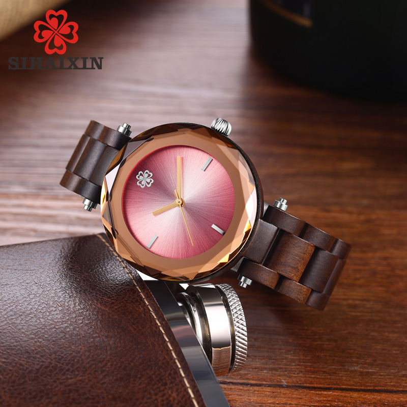 red-dial-glass-wooden-band-watch-women-clock