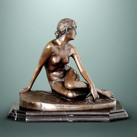 ATLIE BRONZES Classical Bronze Statue sexy maid sculpture copper figurine nude girl Home decoration Gifts in Statues Sculptures from Home Garden