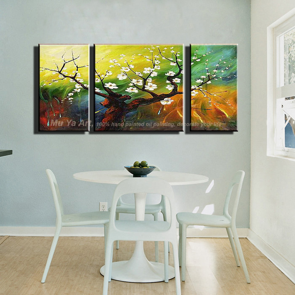 Popular acrylic tree painting buy cheap acrylic tree for 3 piece paintings