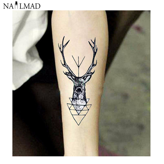 2pcs Black Elk Temporary Tattoo Deer Waterproof Stick Paste Decals Body Art Transfer