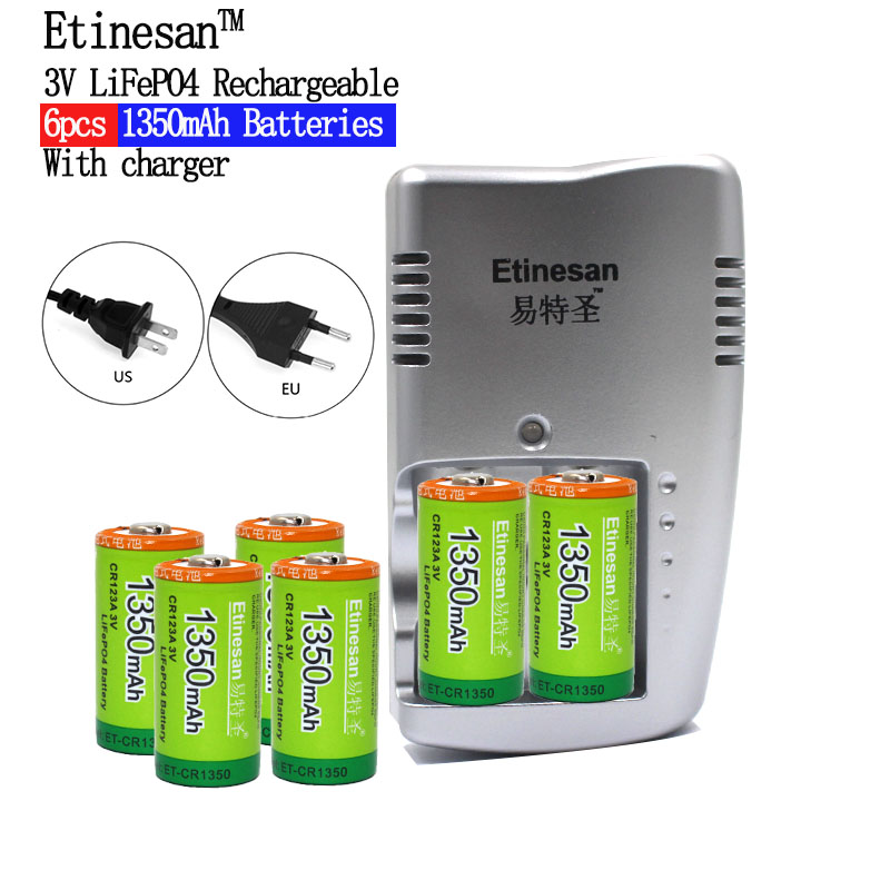 Super 6pcs Etinesan 1350mAh 3v CR123A rechargeable LiFePO4 battery lithium battery with charger Toys  flashlight