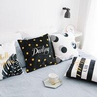 Wholesales Black White Tropical Cushion Cover Stripe Letter Dots Soft Suede Fabric Home Decorative Pillow Case