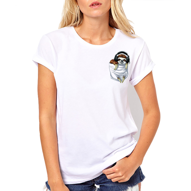 2018 Summer Latest funny print design Little Pocket Sloth T-shirt women  summer t-shirt brand fashion shirt Funny pocket Tee tops 68664fc73