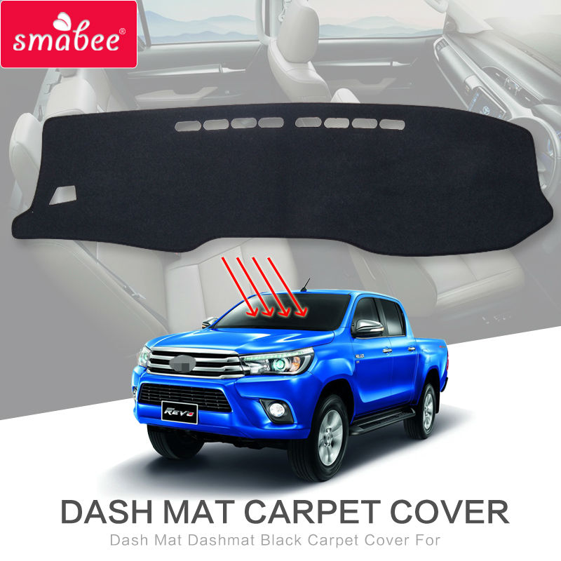 Dash Mat Dashmat Black Carpet Cover For Toyota Hilux SR5 4x4 Hilux REVO Hi-Rider Manual 2015-2017 NON SLIP Automotive interior dashmat original dashboard cover buick skyhawk
