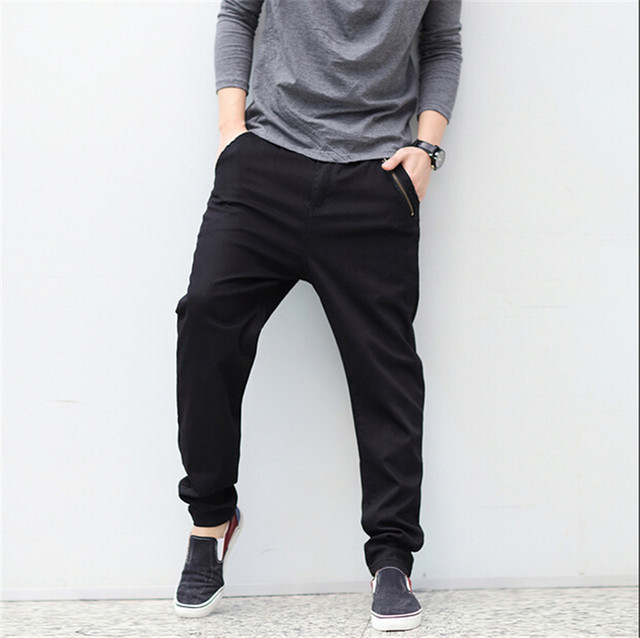 2016 Full Length Mens Joggers Pants Casual Black Sweatpants Men Loose Track Trousers Sweat Pants