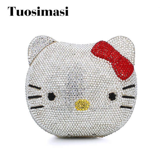 Hello Kitty Crystal Diamond Women Evening Cocktail Party Handbags Clutch  Bag Hard Case Metal Clutches Shoulder Chain Purses bed43c2cbcc15