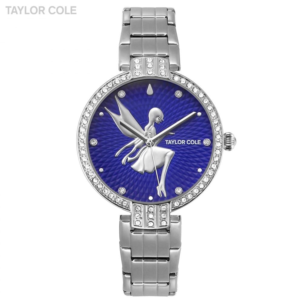 Taylor Cole Luxury Blue Silver Crystal Lady Girl Feminino  Quartz Steel Clock Relogio Feminino Reloj Mujer Montre Femme / TC089 боксмод sigelei fuchai 213w tc blue силик чехол