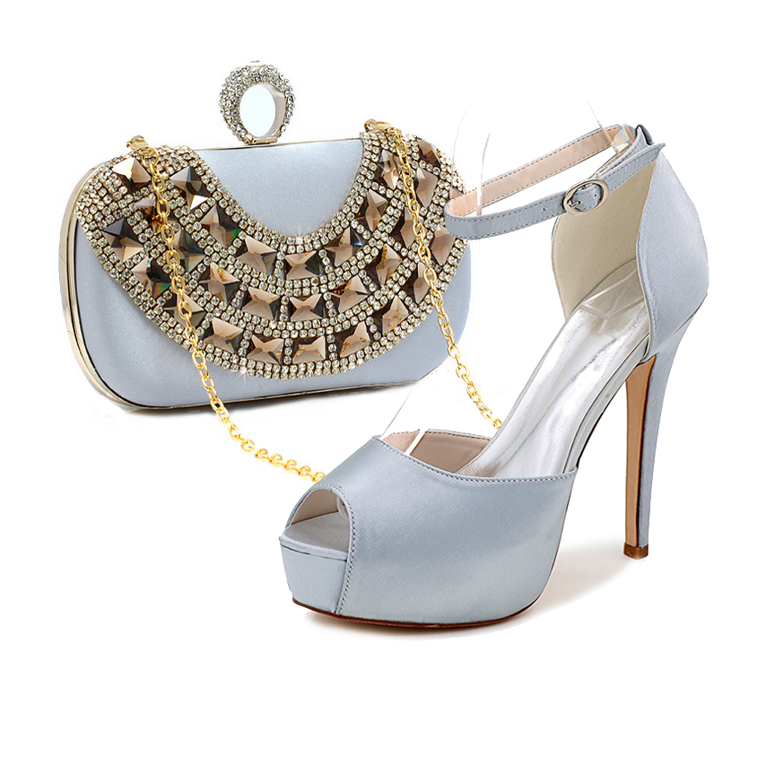 Elegant silver grey satin evening dress shoes platform high heels with matching crystal clutch handbag party wedding fashion kit