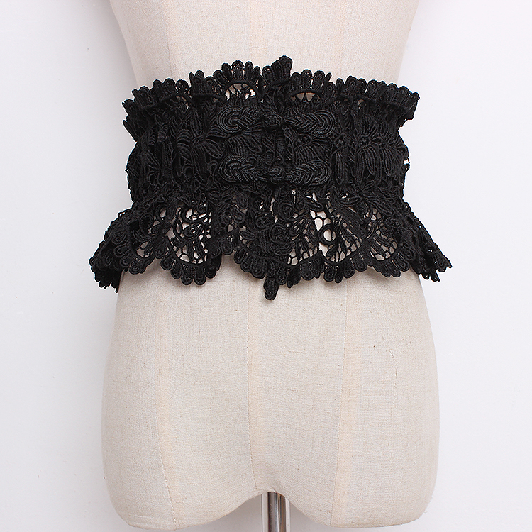 Women's Runway Fashion Vintage Elastic Lace Cummerbunds Female Dress Coat Corsets Waistband Belts Decoration Wide Belt R1207