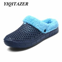 YIQITZER 2017 New Fashion Winter Wool Slippers Men Footwear Flip Flops Man Shoes Bedroom Style Plush