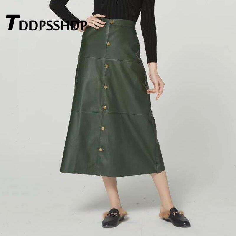 Green Pu Leather Long Skirt Women Gold Metal Button Decor 2019 New Elegant Slim Female Skirts